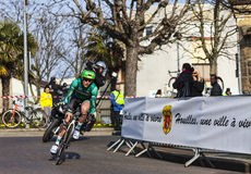 The Cyclist Jerome Vincent- Paris Nice 2013 Prolog Royalty Free Stock Image