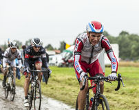 The Cyclist Joaquim Rodriguez on a Cobbled Road - Tour de France Royalty Free Stock Image
