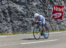The Cyclist Johannes Frohlinger. Chorges, France- July 17, 2013: The German cyclist Johannes Frohlinger from Argos-Shimano Team pedaling during the stage 17 of Stock Images