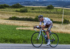 The Cyclist John Gadret. Chorges, France- July 17, 2013: The French cyclist John Gadret from Ag2r-La Mondiale Team pedaling during the stage 17 of 100th edition Stock Photos