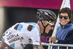 The Cyclist John Gadret. Mont Ventoux, France- July 14 2013: The French cyclist John Gadret (Ag2r-La Mondiale Team), climbing the last kilometer of the ascension Royalty Free Stock Images