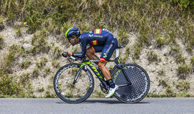 The Cyclist Jonathan Castroviejo. Chorges, France- July 17, 2013: The Basque cyclist Jonathan Castroviejo from Movistar Team pedaling during the stage 17 of Stock Photos