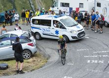 The Cyclist Jonathan Castroviejo - Tour de France 2015. Col du Glandon, France - July 24, 2015: The Spanish cyclist Jonathan Castroviejo of Movistar Team Stock Photography