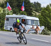 The Cyclist Jose Joaquin Rojas Gil. Chorges, France- July 17, 2013: The Spanish cyclist Jose Joaquin Rojas Gil from Movistar Team pedaling during the stage 17 of Royalty Free Stock Images