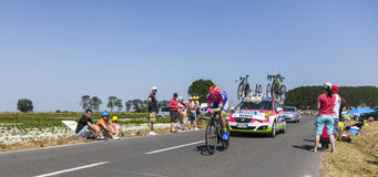 The Cyclist Jose Rodolfo Serpa Perez. Ardevon,France-July 10, 2013: The Colombian cyclist Jose Rodolfo Serpa Perez from Lampre-Merida Team cycling during the Royalty Free Stock Photo