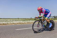 The Cyclist Jose Rodolfo Serpa Perez. Ardevon,France-July 10, 2013: The Colombian cyclist Jose Rodolfo Serpa Perez from Lampre-Merida Team cycling during the Royalty Free Stock Images