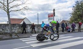 The Cyclist Julien Loubet - Paris-Nice 2016. Conflans-Sainte-Honorine,France-March 6,2016: The French cyclist Julien Loubet of Fortuneo-Vital Concept Team riding Stock Photos