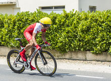 The Cyclist Julien Simon. Coulounieix-Chamiers, France - July 26, 2014: The French cyclist Julien Simon (Cofidis Team) pedaling during the stage 20 ( time trial Royalty Free Stock Images