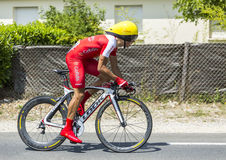 The Cyclist Julien Simon. Coulounieix-Chamiers, France - July 26, 2014: The French cyclist Julien Simon (Cofidis Team) pedaling during the stage 20 ( time trial Stock Photo