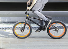 Cyclist jump on bicycle Royalty Free Stock Photo