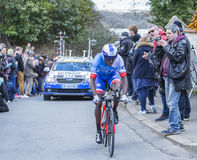 The Cyclist Kevin Reza - Paris-Nice 2016 Royalty Free Stock Images