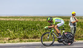 The Cyclist Kristijan Koren. Ardevon,France-July 10, 2013: The Slovenian cyclist Kristijan Koren from Cannondale Team cycling during the stage 11 of the edition Royalty Free Stock Photography