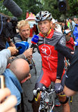 Cyclist Lance Armstrong. Pau – July 22: Cyclist Lance Armstrong is giving interview before start of 17 stage of Tour de France 2010, July 22, 2010 Tour de Royalty Free Stock Image