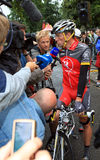 Cyclist Lance Armstrong. Pau – July 22: Cyclist Lance Armstrong is giving interview before start of 17 stage of Tour de France 2010, July 22, 2010 Tour de Royalty Free Stock Photo