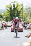 The Cyclist Lars Bak - Tour de France 2014. Cote de Coulounieix-Chamiers, France - July 26, 2014: The Danish cyclist Lars Bak (Lotto Belisol Team) pedaling  on a Stock Image