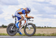 The Cyclist Laurens ten Dam. Beaurouvre,France,July 21st 2012:The Dutch cyclist Laurens ten Dam from Team Rabobank pedaling during the 19th stage of Le Tour de Stock Photography