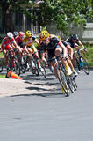 Cyclist Leads Pack Around Turn Stock Photos