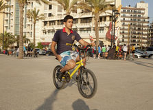 A cyclist, Lebanon. A cyclist, Beirut waterfront, Lebanon Royalty Free Stock Image