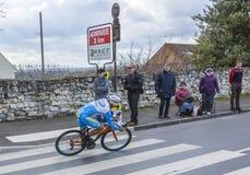 The Cyclist Leonardo Fabio Duque - Paris-Nice 2016. Conflans-Sainte-Honorine,France-March 6,2016: The French cyclist Leonardo Fabio Duque of Delko-Marseille Royalty Free Stock Image