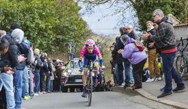 The Cyclist Louis Meintjes - Paris-Nice 2016. Conflans-Sainte-Honorine,France-March 6,2016: The South African cyclist Louis Meintjes of Lampre-Merida Team riding Stock Photos