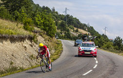 The Cyclist Luis Angel Mate Mardones. Chorges, France- July 17, 2013: The Spanish cyclist Luis Angel Mate Mardones from Cofidis Team pedaling during the stage 17 Stock Images