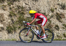 The Cyclist Luis Angel Mate Mardones. Chorges, France- July 17, 2013: The Spanish cyclist Luis Angel Mate Mardones from Cofidis Team pedaling during the stage 17 Stock Photo