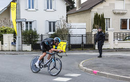 The Cyclist Luke Rowe - Paris-Nice 2016. Conflans-Sainte-Honorine,France-March 6,2016: The Welsh cyclist Luke Rowe of Team Sky riding during the prologue stage Royalty Free Stock Photos