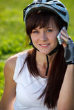 Cyclist making a call Royalty Free Stock Image
