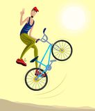 Cyclist making a stunt and jumps in the air. Cartoon style cyclist making a stunt and jumps in the air in vector Stock Photography