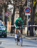 The Cyclist Malacarne Davide- Paris Nice 2013 Prologue in Houill. Houilles, France- March 3rd 2013: The Italian cyclist Malacarne Davide from Team Europcar Royalty Free Stock Photography