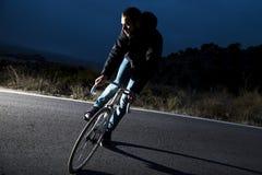 Cyclist man riding fixed gear sport bike Stock Photo