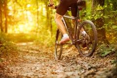Cyclist man riding mountain bike Stock Photo