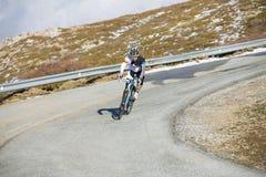 Cyclist man riding mountain bike Royalty Free Stock Photos