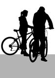 Cyclist man and women Royalty Free Stock Photography