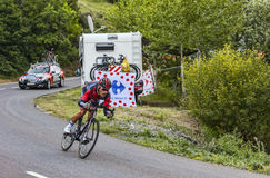 The Cyclist Manuel Quinziato. Chorges, France- July 17, 2013: The Italian cyclist Manuel Quinziato from BMC Racing Team pedaling during the stage 17 of 100th stock photography