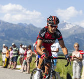 The Cyclist Manuel Quinziato. Col de Manse, France- July 16, 2013: The Italian cyclist Manuel Quinziato from BMC Racing team riding on a plain road after the Stock Image