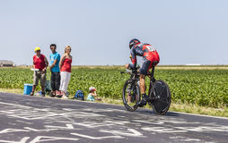 The Cyclist Manuel Quinziato. Le Pont Landais,France-July 10, 2013: The Italian cyclist Manuel Quinziato from BMC Racing Team cycling during the stage 11 of the stock photos