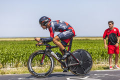 The Cyclist Manuel Quinziato. Le Pont Landais,France-July 10, 2013: The Italian cyclist Manuel Quinziato from BMC Racing Team cycling during the stage 11 of the stock photo