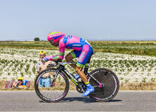 The Cyclist Manuele Mori. Le Pont Landais,France-July 10, 2013: The Italian cyclist Manuele Mori  from Lampre-Merida Team cycling during the stage 11 of the Royalty Free Stock Photos
