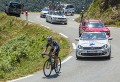 The Cyclist Mark Cavendish - Tour de France 2015. Col D'Aspin,France- July 15,2015: The Manx cyclist Mark Cavendish of Etixx-Quick Step Team, climbing the road Stock Images