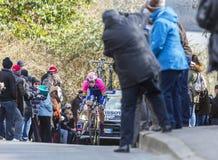 The Cyclist Marko Kump - Paris-Nice 2016. Conflans-Sainte-Honorine,France-March 6,2016: The Slovenian cyclist Marko Kump of Lampre-Merida Team riding during the Stock Photo