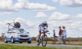 The Cyclist Mathieu Ladagnous. Beaurouvre,France,July 21st 2012:Panning image of the French cyclist Mathieu Ladagnous from Team FDJ pedaling during the 19th Stock Images