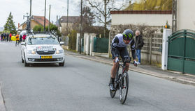 The Cyclist Matthew Martin Brammeier - Paris-Nice 2016. Conflans-Sainte-Honorine,France-March 6,2016: The Irish cyclist Matthew Martin Brammeier of Dimension Royalty Free Stock Photography