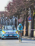 The Cyclist Maxim Iglinskiy- Paris Nice 2013 Prologue in Houille. Houilles, France- March 3rd 2013: The Kazakh cyclist Maxim Iglinskiy from Astana Pro Team Royalty Free Stock Images
