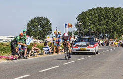 The Cyclist Maxime Monfort. Ardevon,France-July 10, 2013: The Belgian cyclist Maxime Monfort from RadioShack-Leopard Team cycling during the stage 11 of the Royalty Free Stock Photography