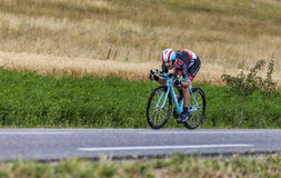 The Cyclist Maxime Monfort. Chorges, France- July 17, 2013: The Belgian cyclist Maxime Monfort from RadioShack-Leopard Team pedaling during the stage 17 of 100th Stock Photography