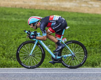 The Cyclist Maxime Monfort. Chorges, France- July 17, 2013: The Belgian cyclist Maxime Monfort from RadioShack-Leopard Team pedaling during the stage 17 of 100th Royalty Free Stock Photo