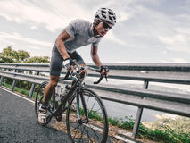 Cyclist in maximum effort Royalty Free Stock Photo