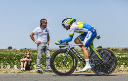The Cyclist Michael Albasini. Le Pont Landais,France-July 10, 2013: The Swiss cyclist Michael Albasini from Orica-GreenEDGE Team cycling during the stage 11 of Stock Photos