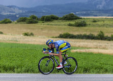 The Cyclist Michael Rogers. Chorges, France- July 17, 2013: The Australian cyclist Michael Rogers from Saxo-Tinkoff Team pedaling during the stage 17 of 100th Stock Photography
